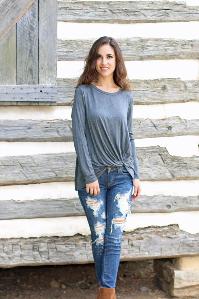 Knot Your Average Girl Long Sleeve Top - Grey
