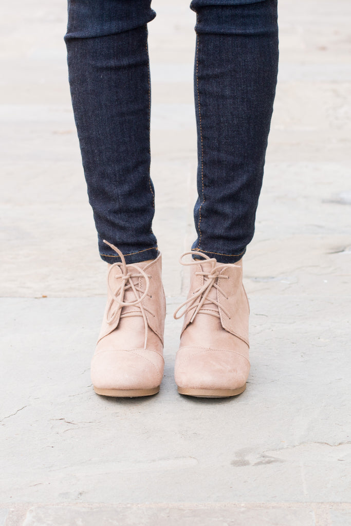 Hayden Lace Up Booties - Nude