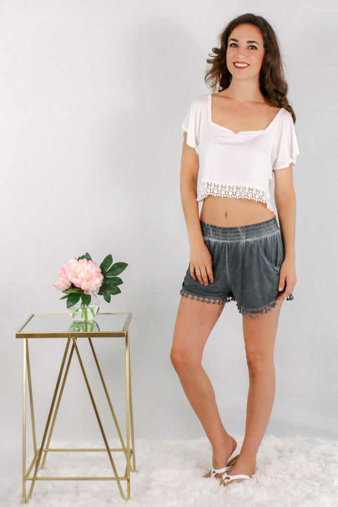 Gray Pom-Pom Trim Shorts with Smocked Waist and Side Pockets and Crop Top