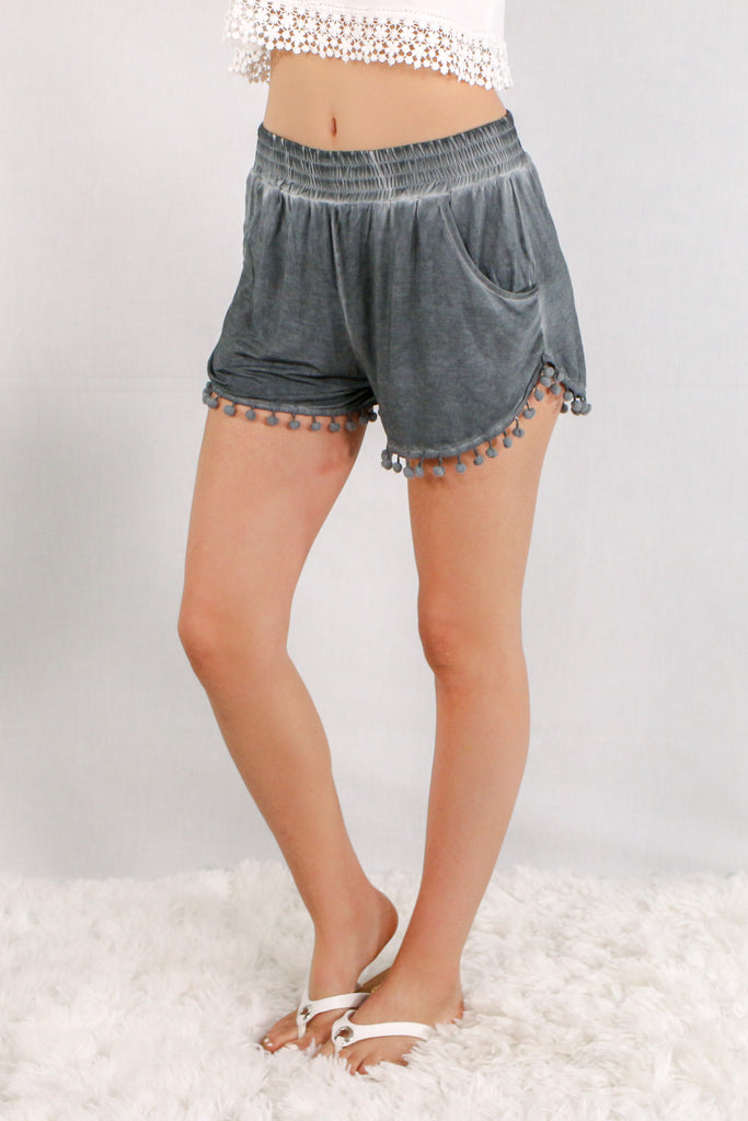 Gray Pom-Pom Trim Shorts with Smocked Waist and Side Pockets Front View