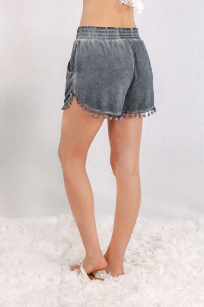 Gray Pom-Pom Trim Shorts with Smocked Waist and Side Pockets Back View