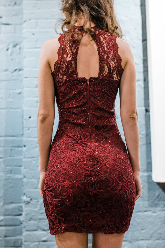Stuck On You Sequin Lace Bodycon Dress - Red