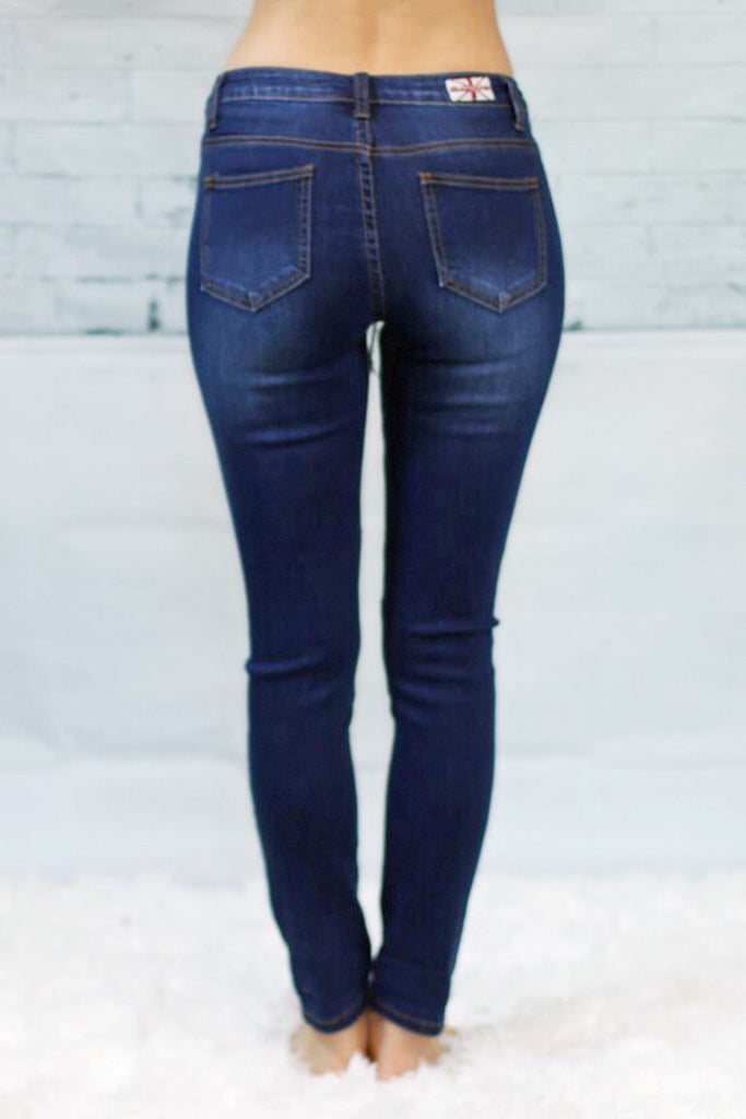 Machine Lace-Up Skinny Jeans-Dark Wash