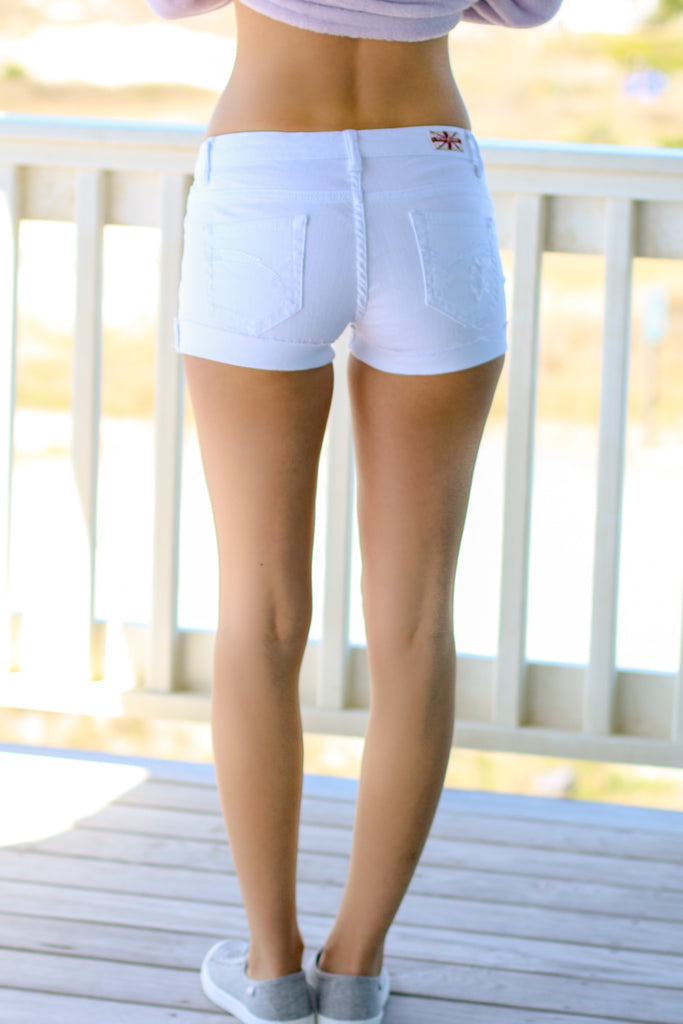 Machine White Distressed Denim Shorts