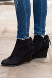 Madeline Black Wedge Booties with Ankle Tie