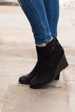 Madeline Black Wedge Booties with Ankle Tie (Left Side View)