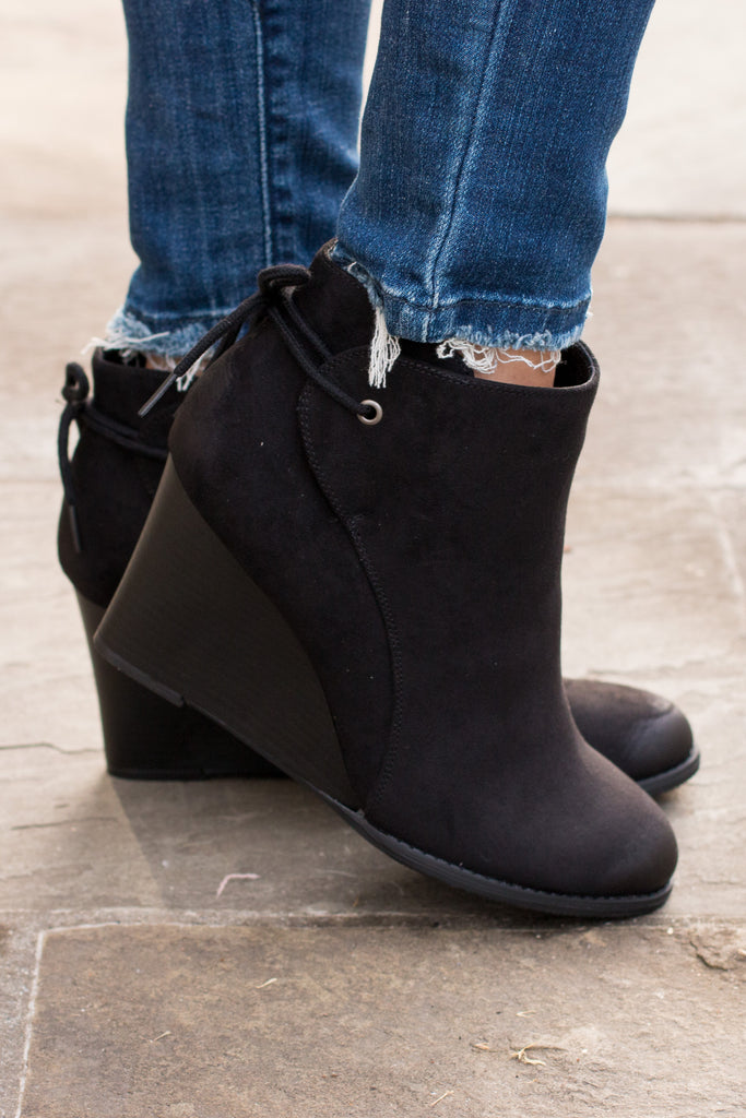 Madeline Black Wedge Booties with Ankle Tie (Right Side View)
