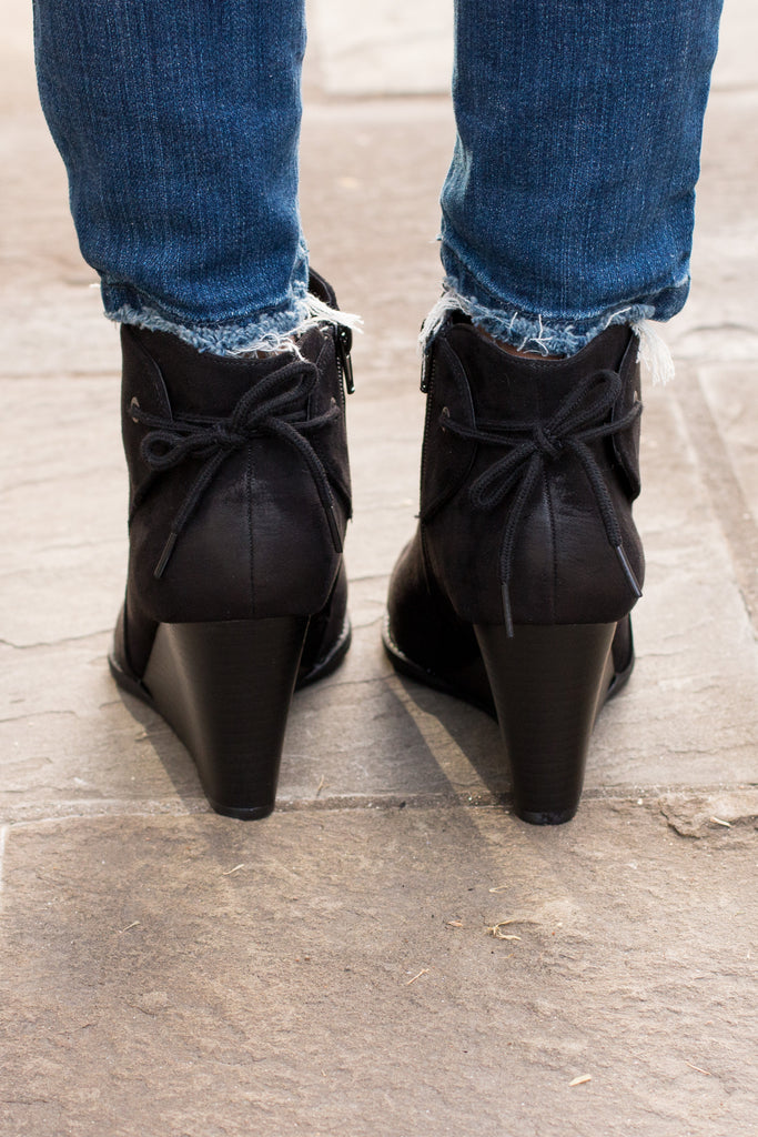 Madeline Black Wedge Booties with Ankle Tie (Back View)