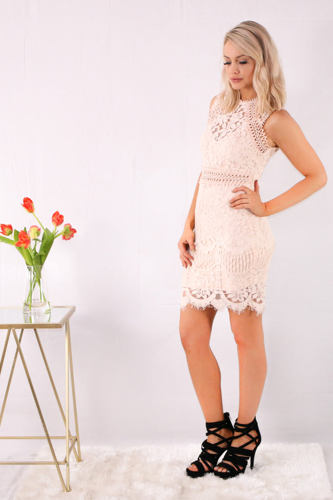 Pink Sleeveless Lace Sheath Dress with Floral Detail Side View