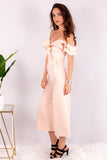 Light Pink Off the Shoulder Culotte Jumpsuit with Ruffle Detail Side View Left