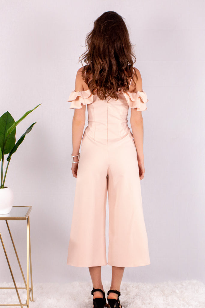Light Pink Off the Shoulder Culotte Jumpsuit with Ruffle Detail Back View