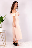 Light Pink Off the Shoulder Culotte Jumpsuit with Ruffle Detail Side View Right