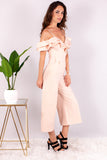 Light Pink Off the Shoulder Culotte Jumpsuit with Ruffle Detail