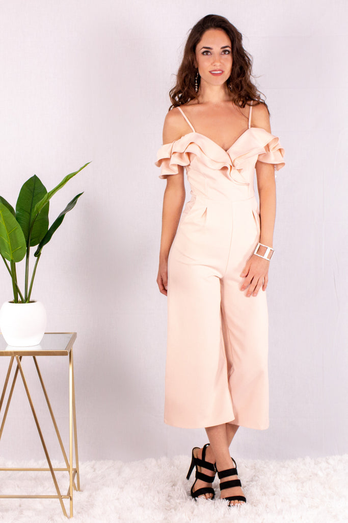 Light Pink Off the Shoulder Culotte Jumpsuit with Ruffle Detail Front View