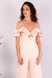 Light Pink Off the Shoulder Culotte Jumpsuit with Ruffle Detail Close Up