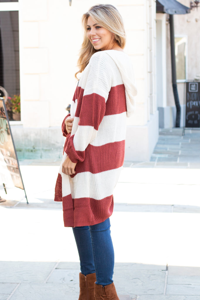 Orange and White Stripe Sweater Cardigan with Hood and Pockets Left Side View