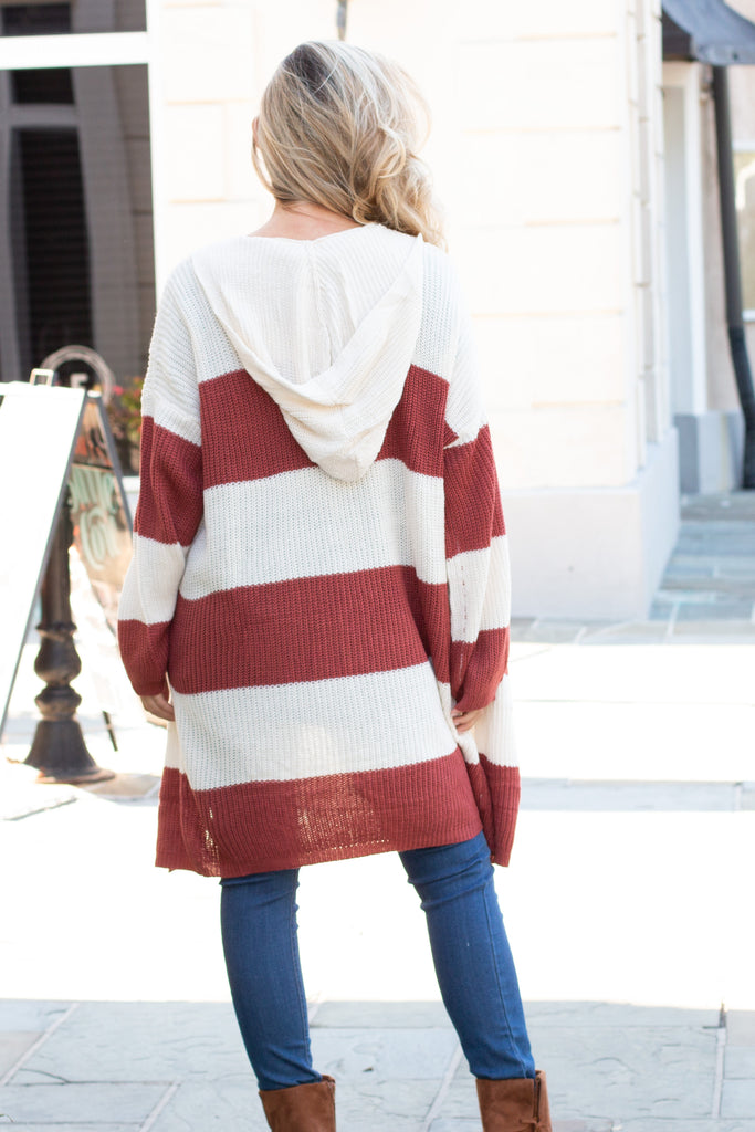Orange and White Stripe Sweater Cardigan with Hood and Pockets Back View