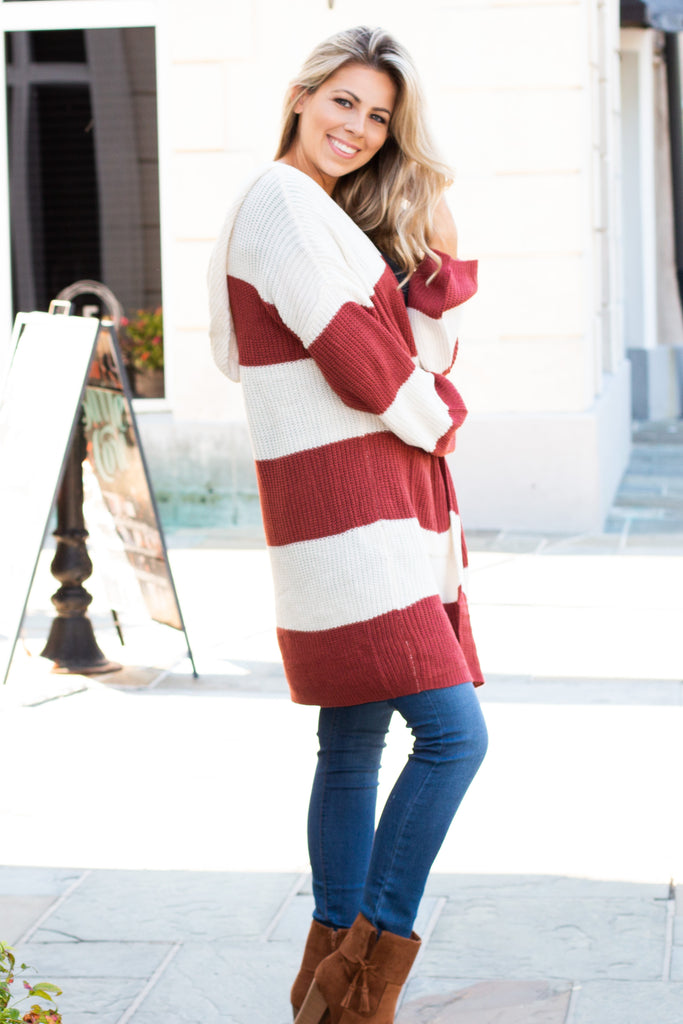 Orange and White Stripe Sweater Cardigan with Hood and Pockets Right Side View