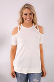 White Cold Shoulder Top with Crisscross Cutout Detail