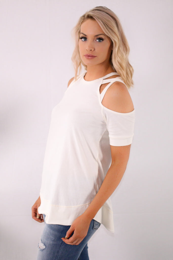 White Cold Shoulder Top with Cutout Detail
