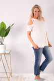 White Cold Shoulder Top with Crisscross Cutout Detail and Jeans