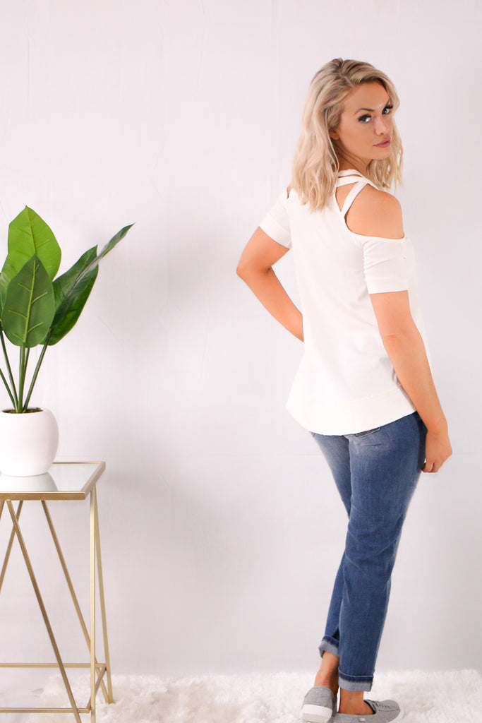 White Cold Shoulder Top with Crisscross Cutout Detail Back with Jeans