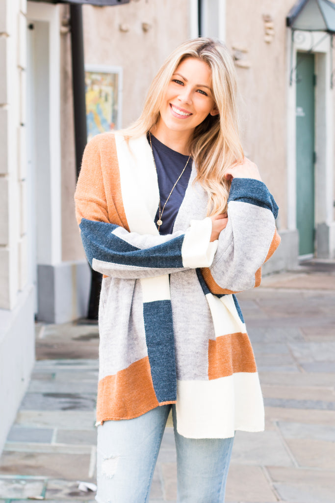 Mainstrip Colorblock Cardigan Teal/Cream/Orange/Grey