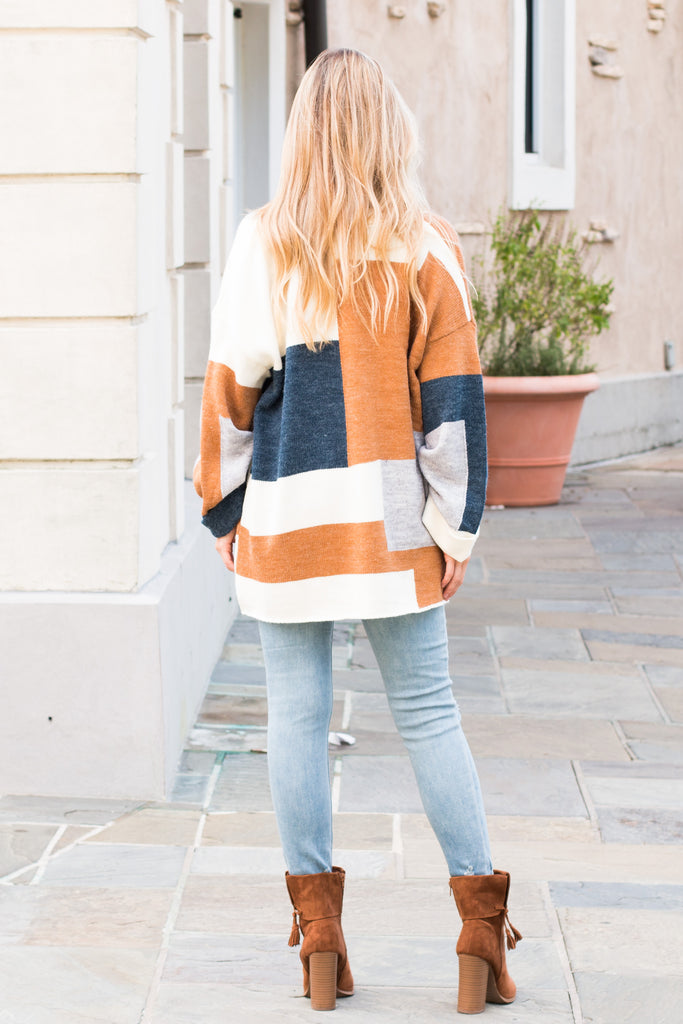 Mainstrip Colorblock Cardigan Teal/Cream/Orange/Grey Fullbody Back
