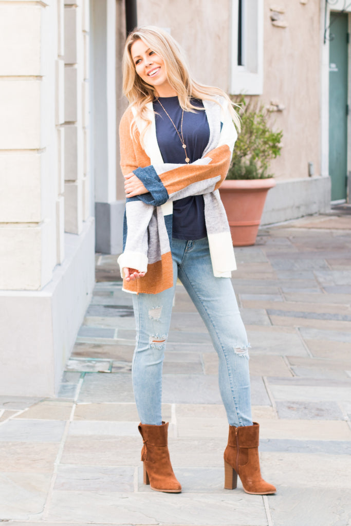 Mainstrip Colorblock Cardigan Teal/Cream/Orange/Grey Fullbody Head Tilt