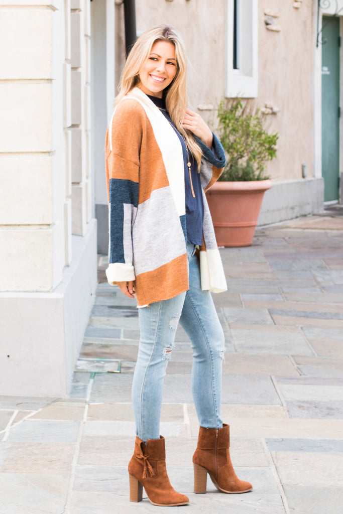 Mainstrip Colorblock Cardigan Teal/Cream/Orange/Grey Fullbody Right Side
