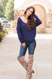 Mainstrip Twist Back Sweater in Navy Fullbody Front View Cute