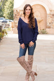 Mainstrip Twist Back Sweater in Navy Fullbody Front View