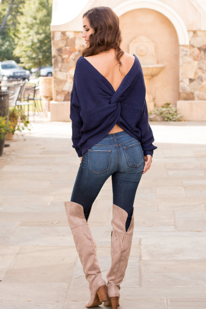 Mainstrip Twist Back Sweater in Navy