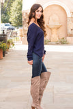 Mainstrip Twist Back Sweater in Navy Fullbody Right Side