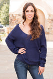 Mainstrip Twist Back Sweater in Navy Front Closeup