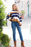 Mainstrip Striped Crop Sweater in Navy/Camel Fullbody Right Stance