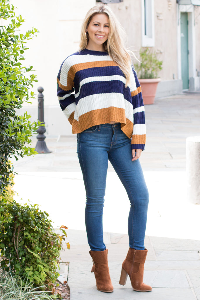 Mainstrip Striped Crop Sweater in Navy/Camel Fullbody Chic