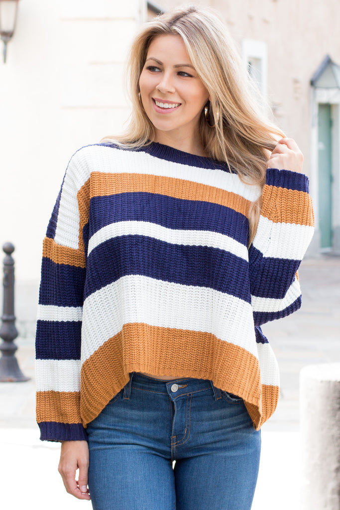 Mainstrip Striped Crop Sweater in Navy/Camel
