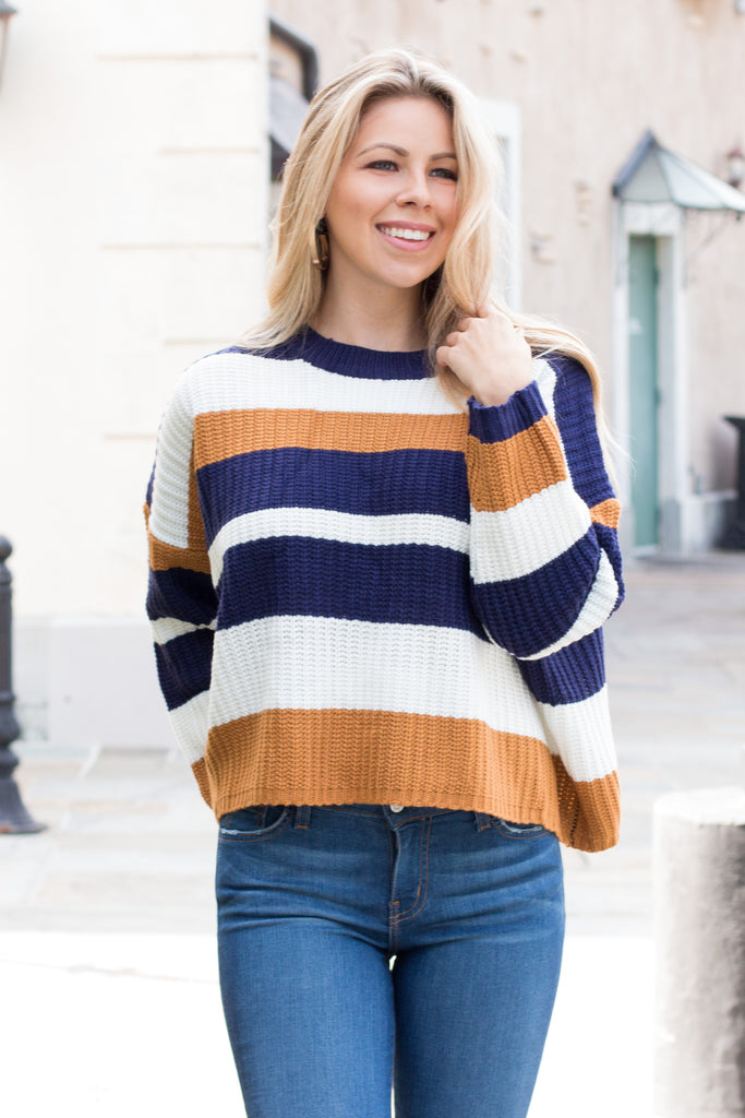 Mainstrip Striped Crop Sweater in Navy/Camel Front Closeup