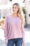 Knot Your Average Babe Twist Back Sweater - Pink