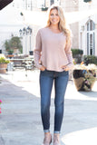 Mainstrip Twist Back Sweater in Tan with Pearls (Front Fullbody)