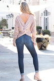 Mainstrip Twist Back Sweater in Tan with Pearls (Back Fullbody)