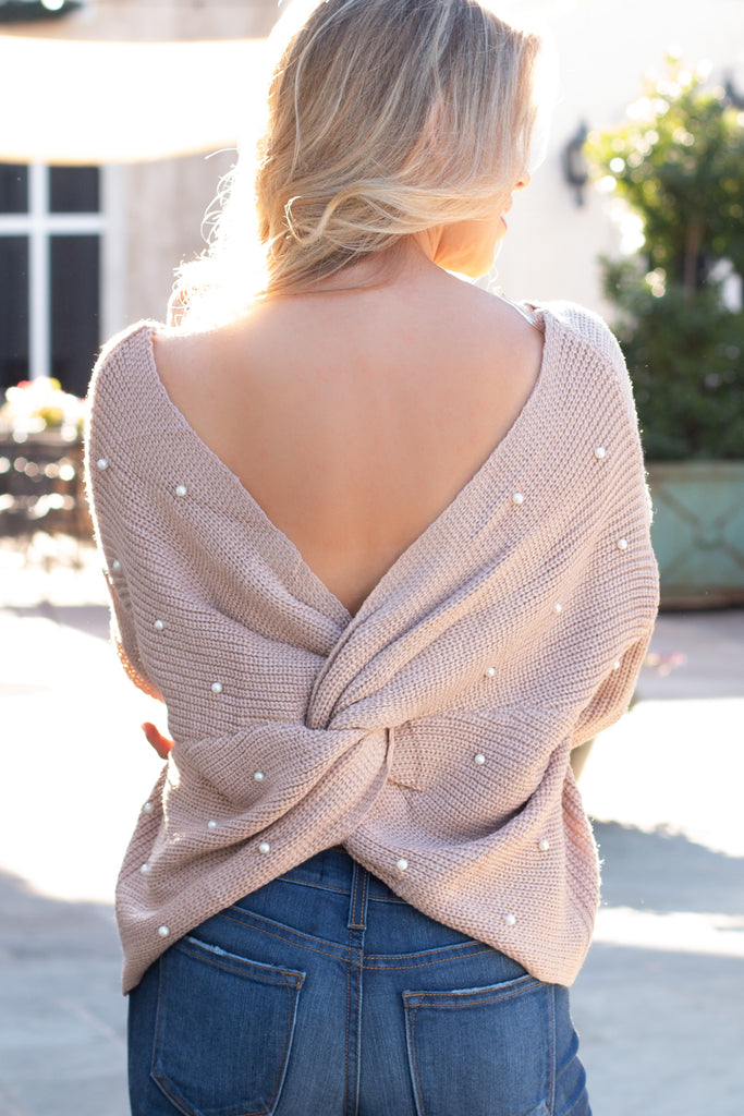 Mainstrip Twist Back Sweater in Tan with Pearls (Back Closeup)