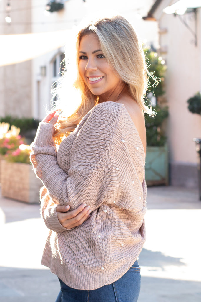 Mainstrip Twist Back Sweater in Tan with Pearls