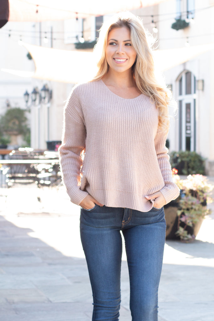 Mainstrip Twist Back Sweater in Tan with Pearls (Front Closeup)