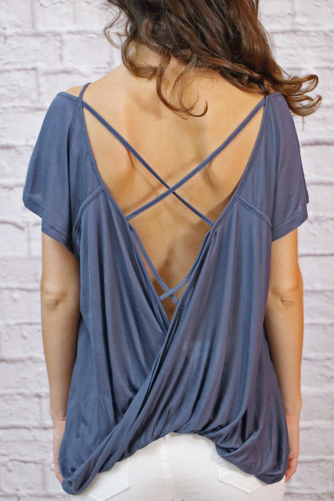 women's blue criss cross back top with shoulder cutouts