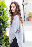 &Merci Grey Chenille Slouchy Sweater w/ Split Hem Left Side