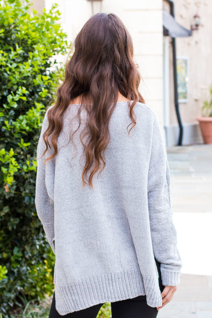 &Merci Grey Chenille Slouchy Sweater w/ Split Hem Back View
