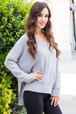 &Merci Grey Chenille Slouchy Sweater w/ Split Hem Right Side