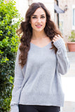 &Merci Grey Chenille Slouchy Sweater w/ Split Hem Front Closeup